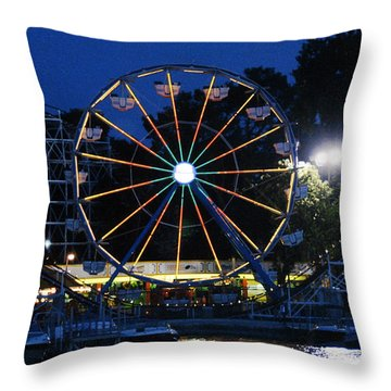 Arnolds Park At Night Throw Pillow
