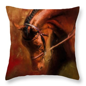 Around The First Turn Equestrian Art Throw Pillow