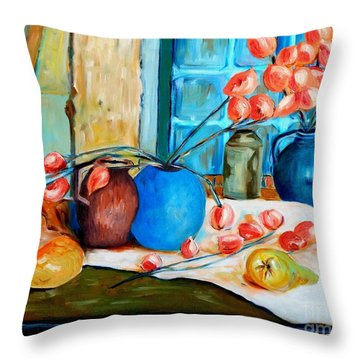 Arranging The Flowers Throw Pillow by Caroline Street