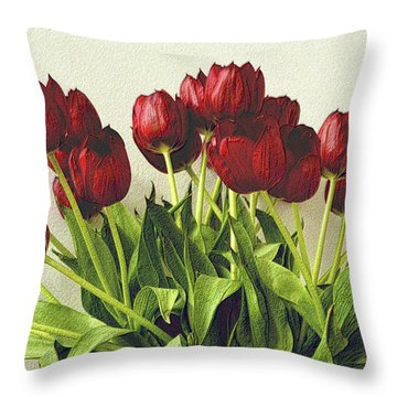 Array Of Red Tulips Throw Pillow by Nadalyn Larsen