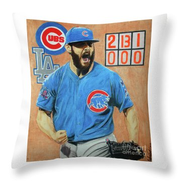 Throw Pillow featuring the drawing Arrieta No Hitter - Vol. 1 by Melissa Goodrich