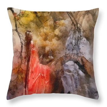Arrival Throw Pillow by Mo T