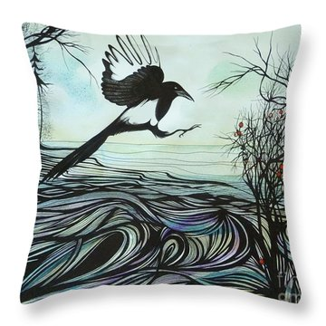 Throw Pillow featuring the drawing Arrival Of Autumn by Anna  Duyunova