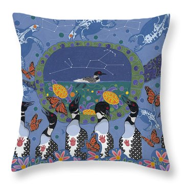Throw Pillow featuring the painting Arrival Of Wintermaker by Chholing Taha