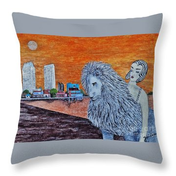 Throw Pillow featuring the painting Arrival To San Diego by Jasna Gopic