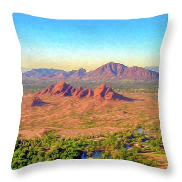 Arriving In Phoenix Digital Watercolor Throw Pillow
