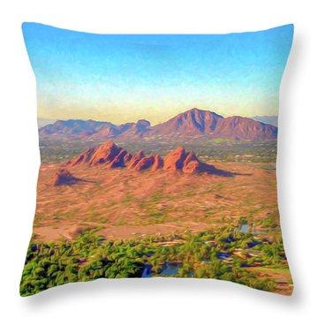 Arriving In Phoenix Digital Watercolor Throw Pillow