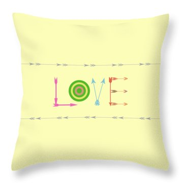 Arrow Love - Changeable Background Color Throw Pillow by Inspired Arts