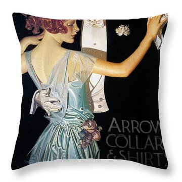 Arrow Shirt Collar Ad, 1923 Throw Pillow