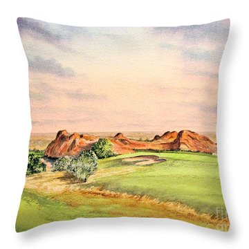Throw Pillow featuring the painting Arrowhead Golf Course Colorado Hole 3 by Bill Holkham