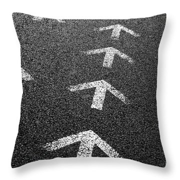 Arrows On Asphalt Throw Pillow by Carlos Caetano