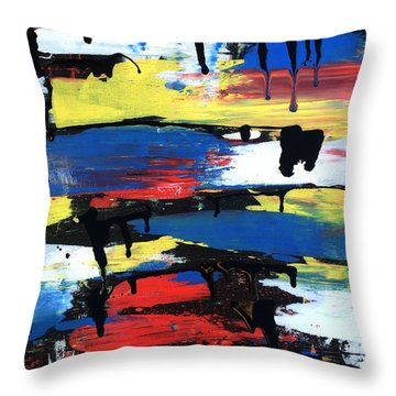 Art Abstract Painting Modern Black Throw Pillow