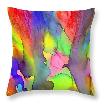 3 Art Abstract Painting Modern Color Signed Robert R Erod Throw Pillow