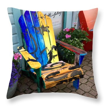 Art Adirondack Chair Boothbay Harbor Maine Throw Pillow by Patricia E Sundik