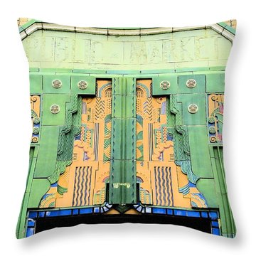Art Deco Facade At Old Public Market Throw Pillow by Janette Boyd