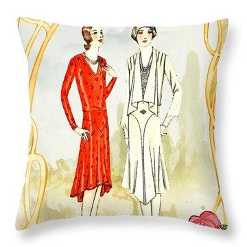 Art Deco Fashion Girls Throw Pillow