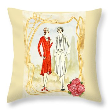 Art Deco Fashion Girls Throw Pillow