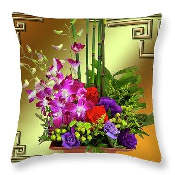 Throw Pillow featuring the digital art Art Deco Floral Arrangement by Chuck Staley
