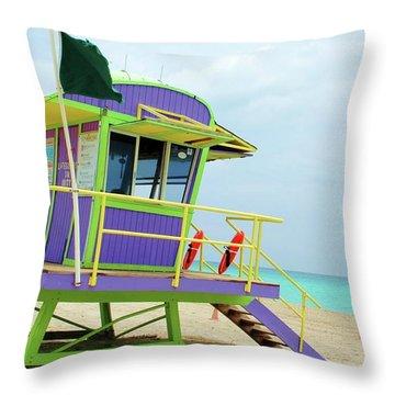 Art Deco Lifeguard Shack Throw Pillow