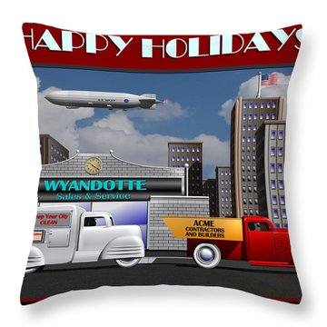 Throw Pillow featuring the digital art Art Deco Street Scene Christmas Card by Stuart Swartz