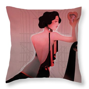 Throw Pillow featuring the digital art Art Deco Valentine Greeting by Jeff Burgess