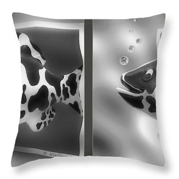 Art Fish - Gently Cross Your Eyes And Focus On The Middle Image That Appears Throw Pillow by Brian Wallace