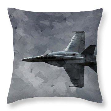 Aaron Berg Photography Throw Pillow featuring the photograph Art In Flight F-18 Fighter by Aaron Lee Berg