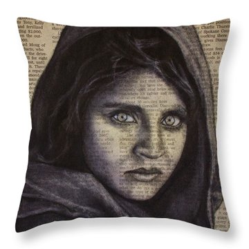 Art In The News 64-afghan Girl Throw Pillow