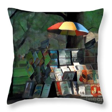Art In The Park - Central Park New York Throw Pillow by Miriam Danar