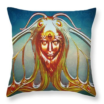 Art Nouveau Butterfly Woman Throw Pillow