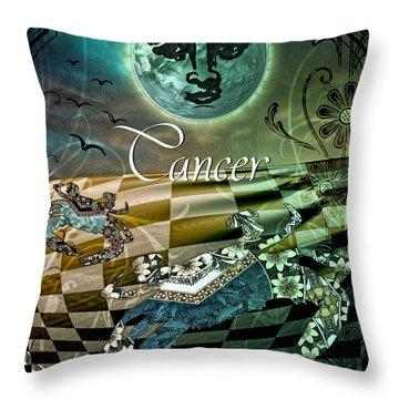 Art Nouveau Zodiac Cancer Throw Pillow