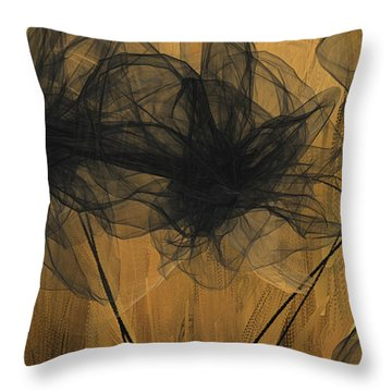 Throw Pillow featuring the painting Art Of Elegance- Black And Gold Abstract- Muted Gold  by Lourry Legarde