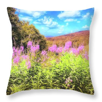 Art Photo Of Vermont Rolling Hills With Pink Flowers In The Foreground Throw Pillow