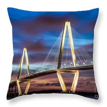 Arthur Ravenel Bridge At Night Throw Pillow