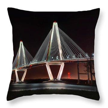 Arthur Ravenel Jr. Bridge At Midnight Throw Pillow