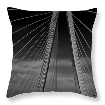Arthur Ravenel Jr Bridge Throw Pillow by DigiArt Diaries by Vicky B Fuller