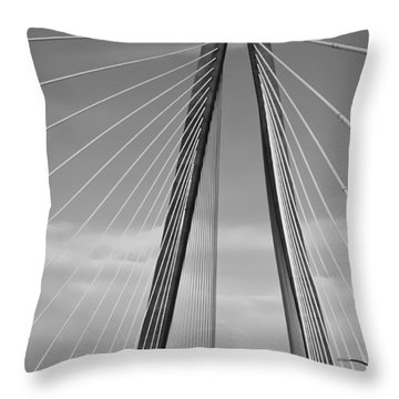 Arthur Ravenel Jr Bridge II Throw Pillow by DigiArt Diaries by Vicky B Fuller