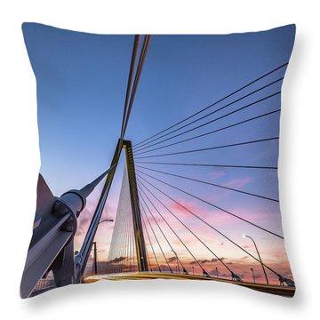 Arthur Ravenel Jr. Bridge Light Trails Throw Pillow