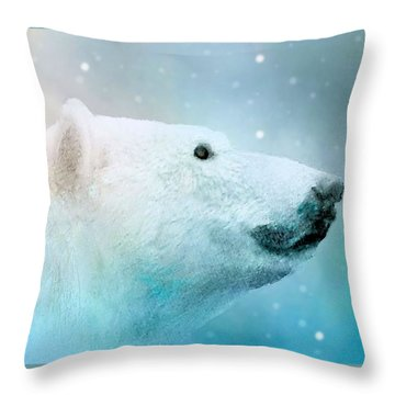 Artic Polar Bear Throw Pillow by Janette Boyd