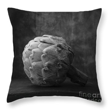 Artichoke Black And White Still Life Throw Pillow by Edward Fielding