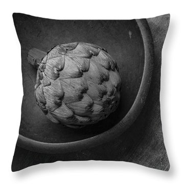 Artichoke Black And White Still Life Three Throw Pillow by Edward Fielding