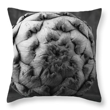 Artichoke Black And White Still Life Two Throw Pillow by Edward Fielding