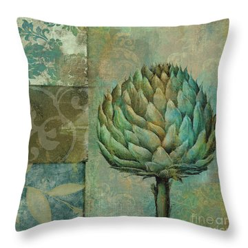 Artichoke Margaux Throw Pillow by Mindy Sommers