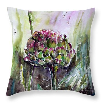 Throw Pillow featuring the painting Artichoke Watercolor And Ink By Ginette by Ginette Callaway