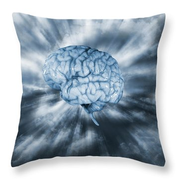 Artificial Intelligence With Human Brain Throw Pillow by Christian Lagereek