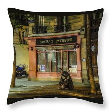 Artisan Patissier Montmartre Paris Throw Pillow