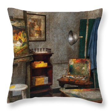 Artist - Painter - The Artists Studio Throw Pillow by Mike Savad
