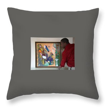 Artist Darrell Black With Dominions Creation Of A New Millennium Throw Pillow