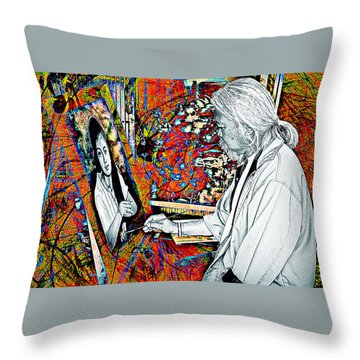 Artist In Abstract Throw Pillow by Ian Gledhill