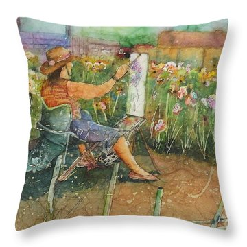 Artist In The Iris Garden Throw Pillow